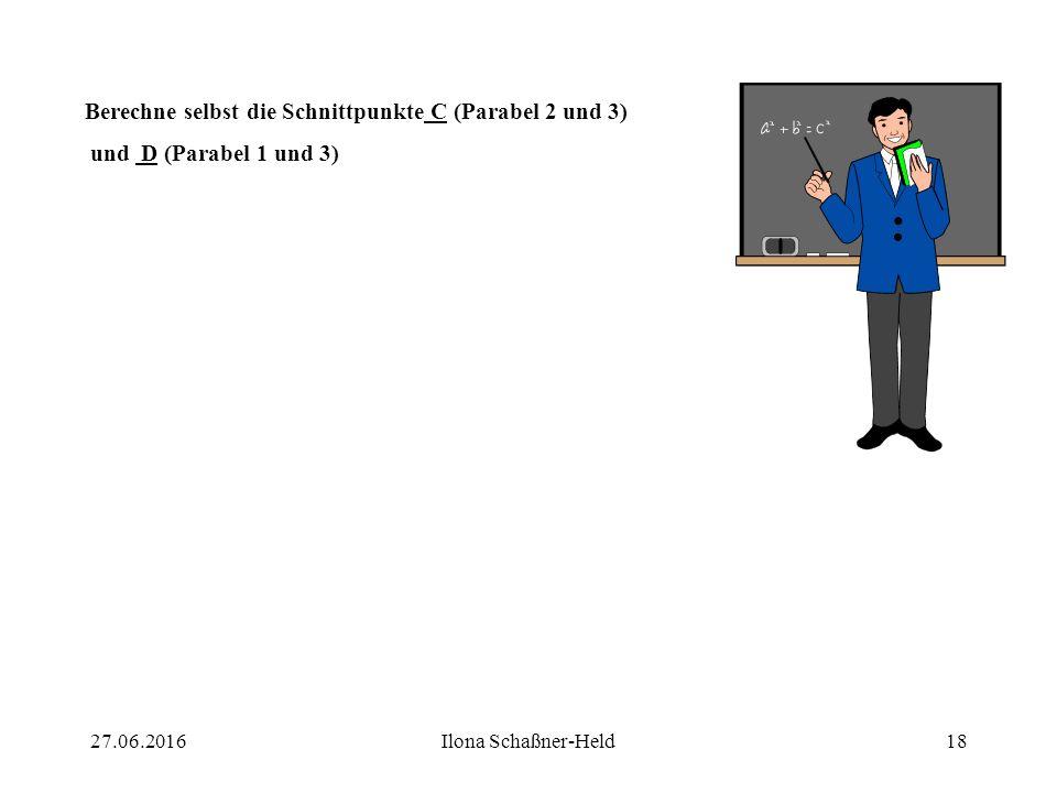 Berechne selbst die Schnittpunkte C (Parabel 2 und 3)