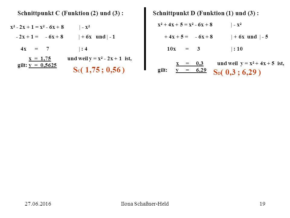 Schnittpunkt C (Funktion (2) und (3) :