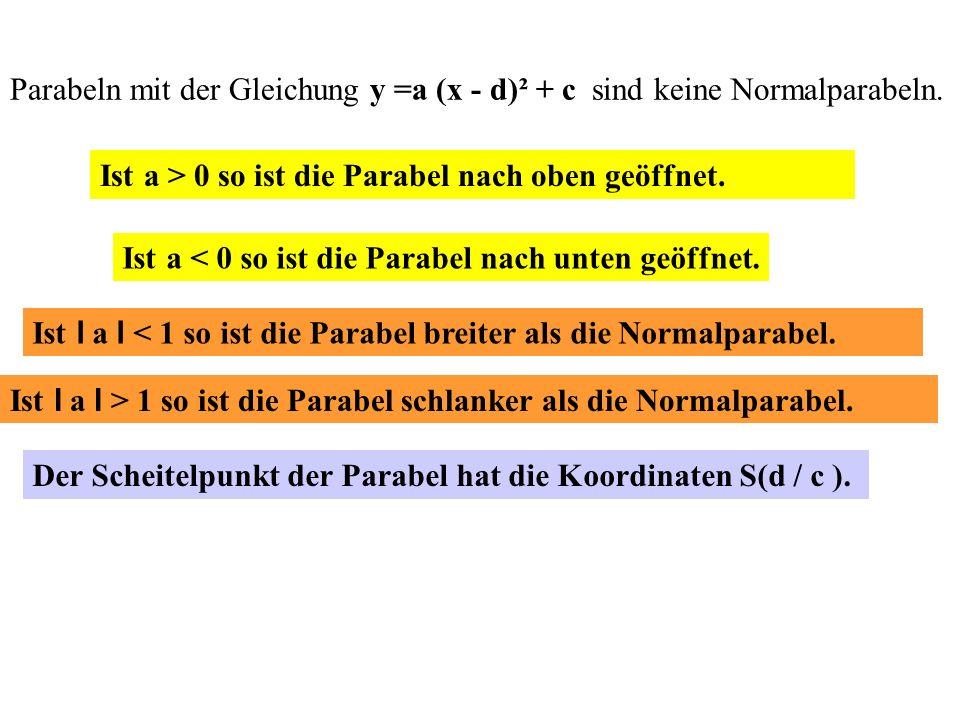 Parabeln mit der Gleichung y =a (x - d)² + c sind keine Normalparabeln.