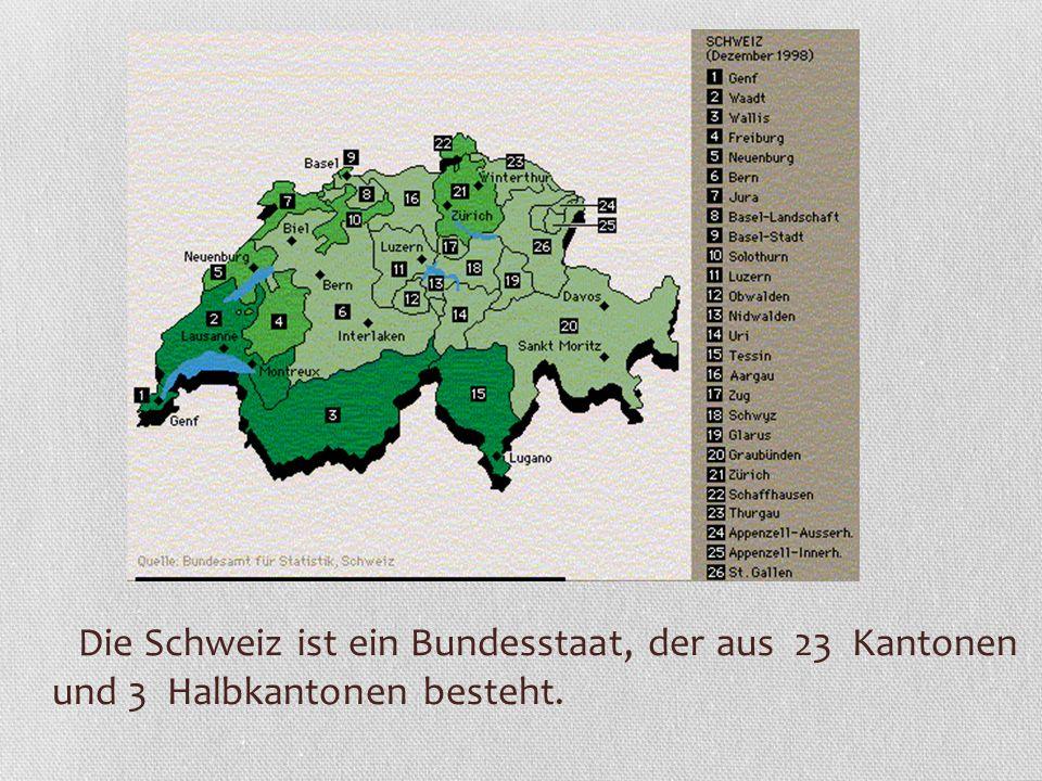 Die Schweiz ist ein Bundesstaat, der aus 23 Kantonen und 3 Halbkantonen besteht.