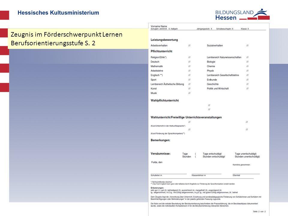 Zeugnis im Förderschwerpunkt Lernen Berufsorientierungsstufe S. 2