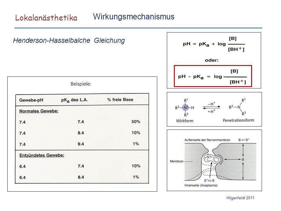 Lokalanästhetika Wirkungsmechanismus Henderson-Hasselbalche Gleichung