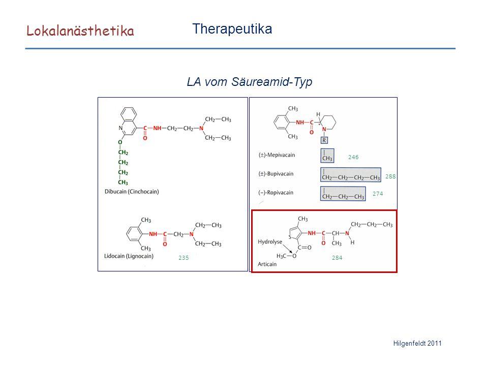 Lokalanästhetika Therapeutika LA vom Säureamid-Typ 235 246 288 274 284