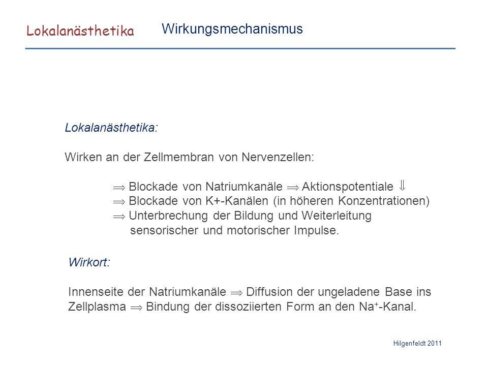 Lokalanästhetika Wirkungsmechanismus Lokalanästhetika: