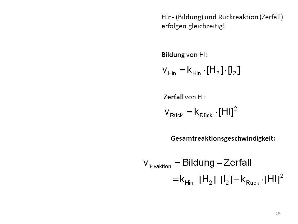 Hin- (Bildung) und Rückreaktion (Zerfall)