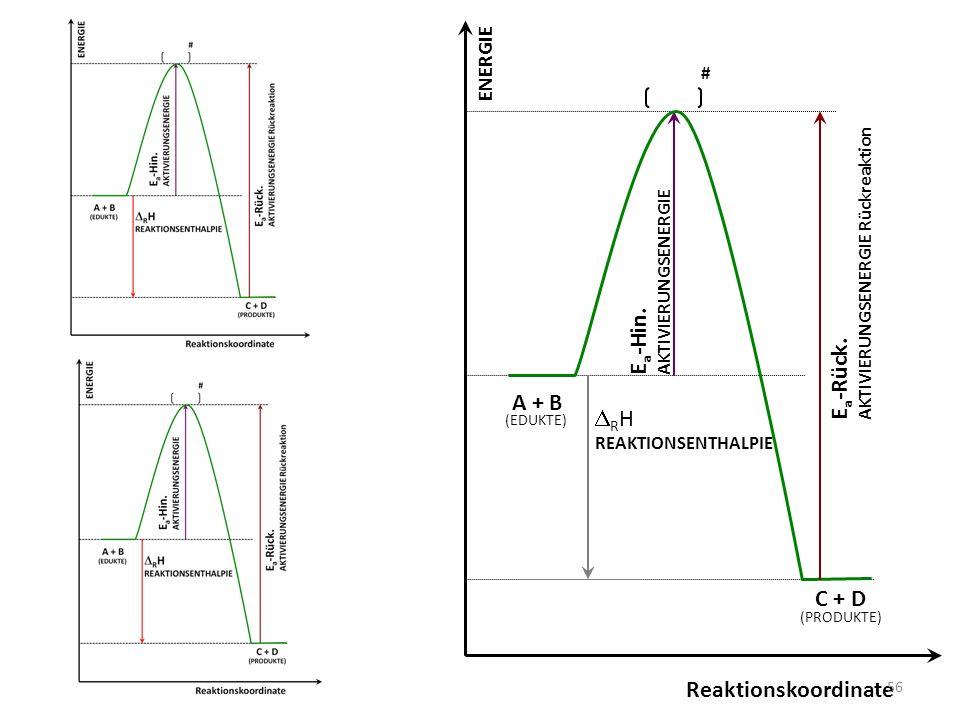 Ea-Hin. Ea-Rück. A + B DRH C + D Reaktionskoordinate ENERGIE #