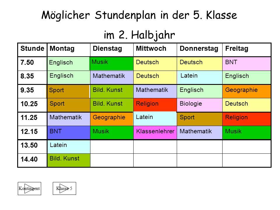 Möglicher Stundenplan in der 5. Klasse