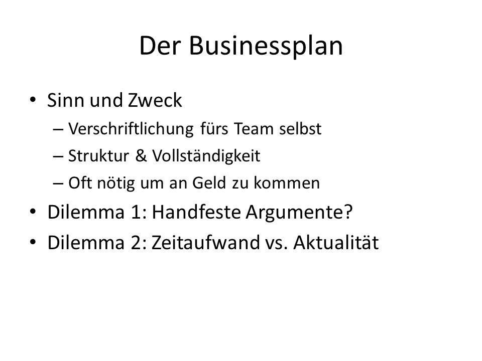 Der Businessplan Sinn und Zweck Dilemma 1: Handfeste Argumente
