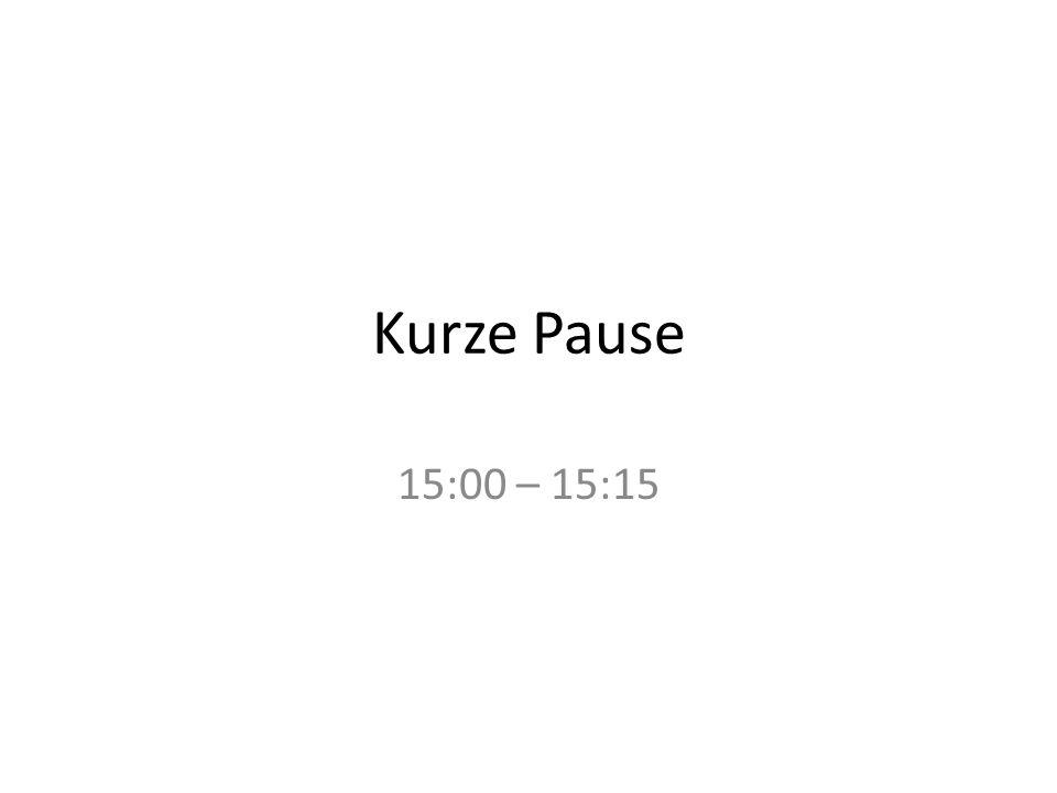 Kurze Pause 15:00 – 15:15