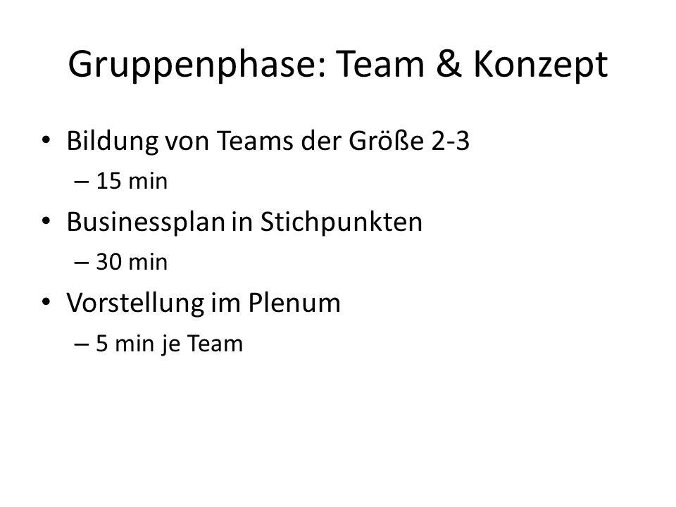 Gruppenphase: Team & Konzept