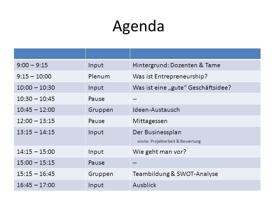 Agenda 9:00 – 9:15 Input Hintergrund: Dozenten & Tame 9:15 – 10:00