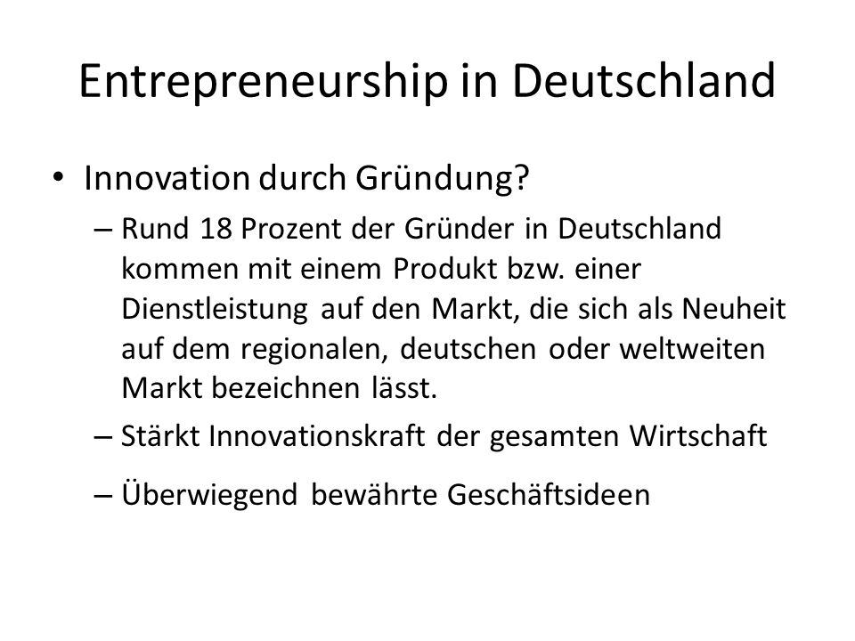 Entrepreneurship in Deutschland