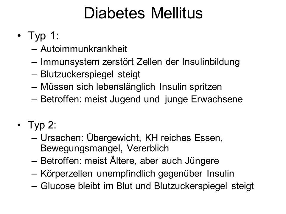Diabetes Mellitus Typ 1: Typ 2: Autoimmunkrankheit
