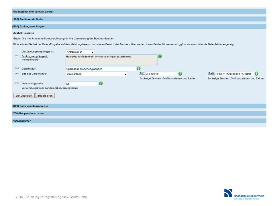 | 2016 | Anleitung Antragsstellung easy-Online-Portal
