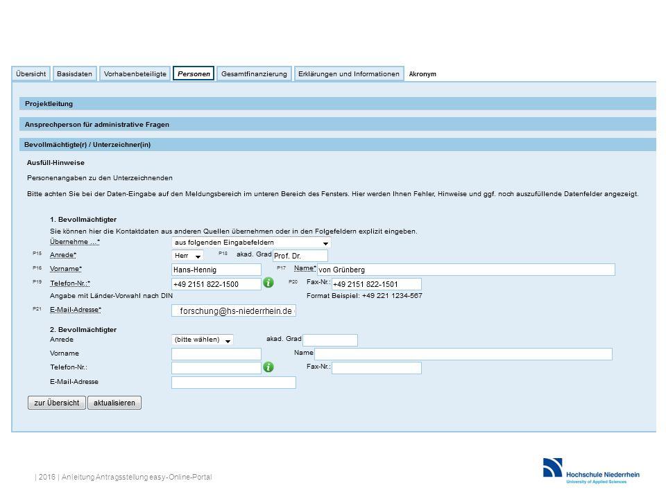 forschung@hs-niederrhein.de | 2016 | Anleitung Antragsstellung easy-Online-Portal