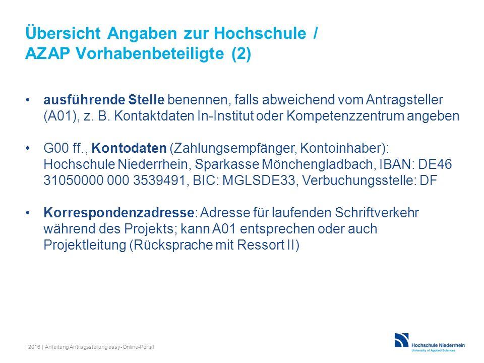Übersicht Angaben zur Hochschule / AZAP Vorhabenbeteiligte (2)