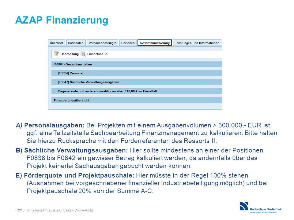 AZAP Finanzierung