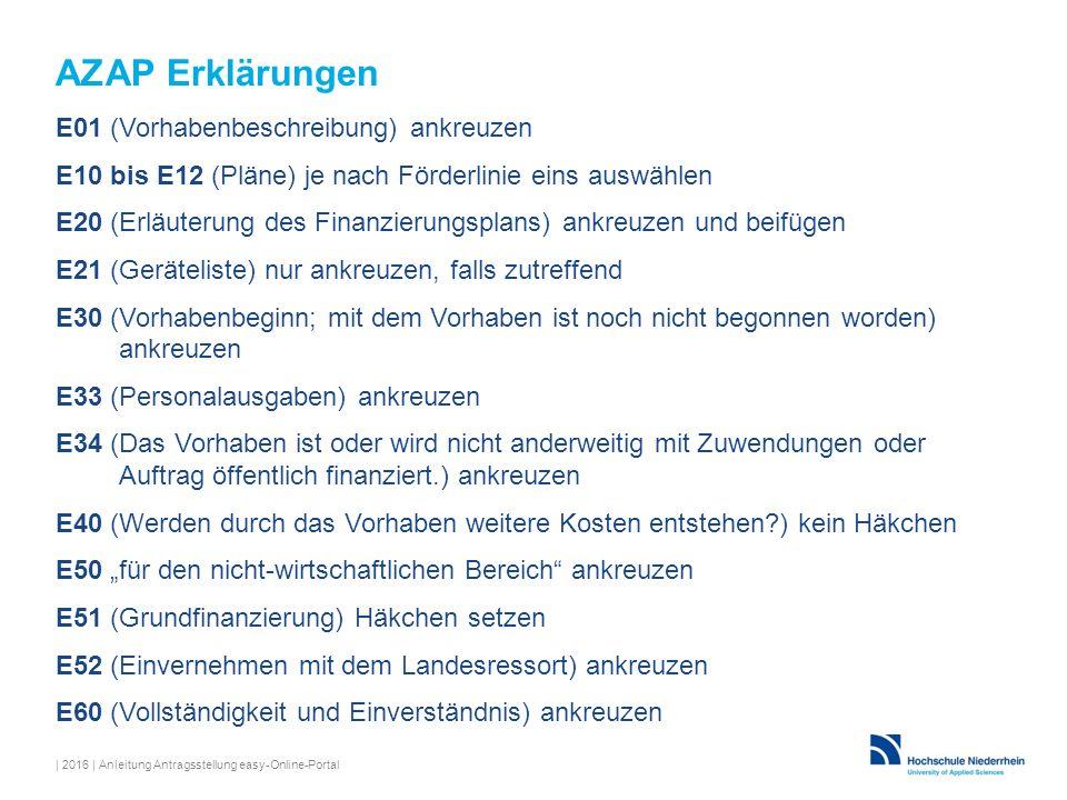 AZAP Erklärungen E01 (Vorhabenbeschreibung) ankreuzen