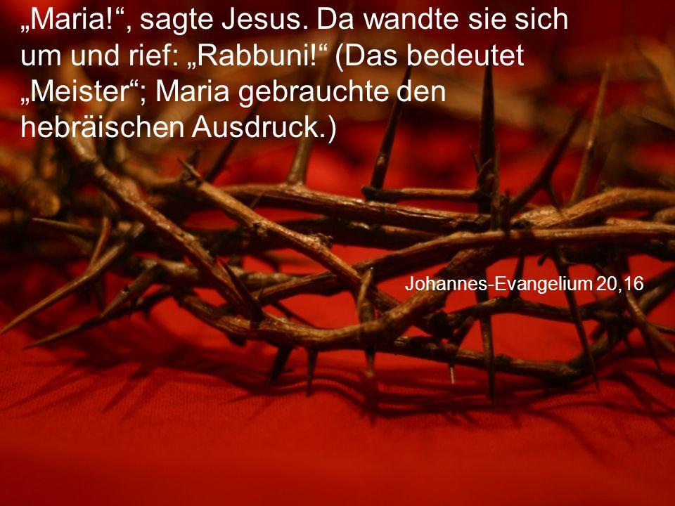 """""""Maria. , sagte Jesus. Da wandte sie sich um und rief: """"Rabbuni"""