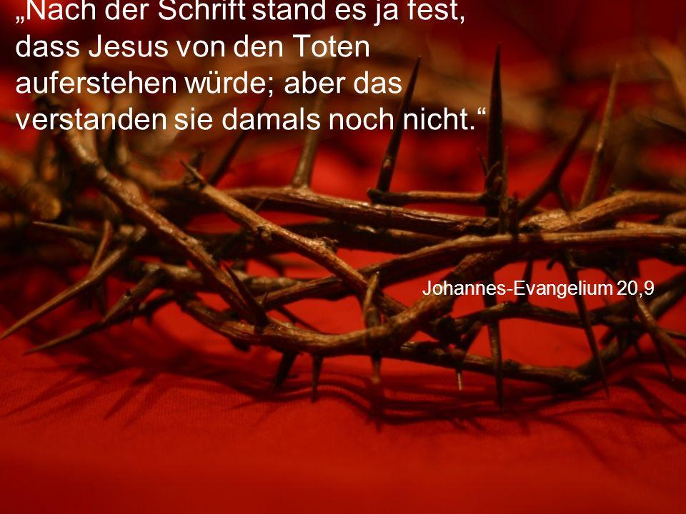 """""""Nach der Schrift stand es ja fest, dass Jesus von den Toten auferstehen würde; aber das verstanden sie damals noch nicht."""