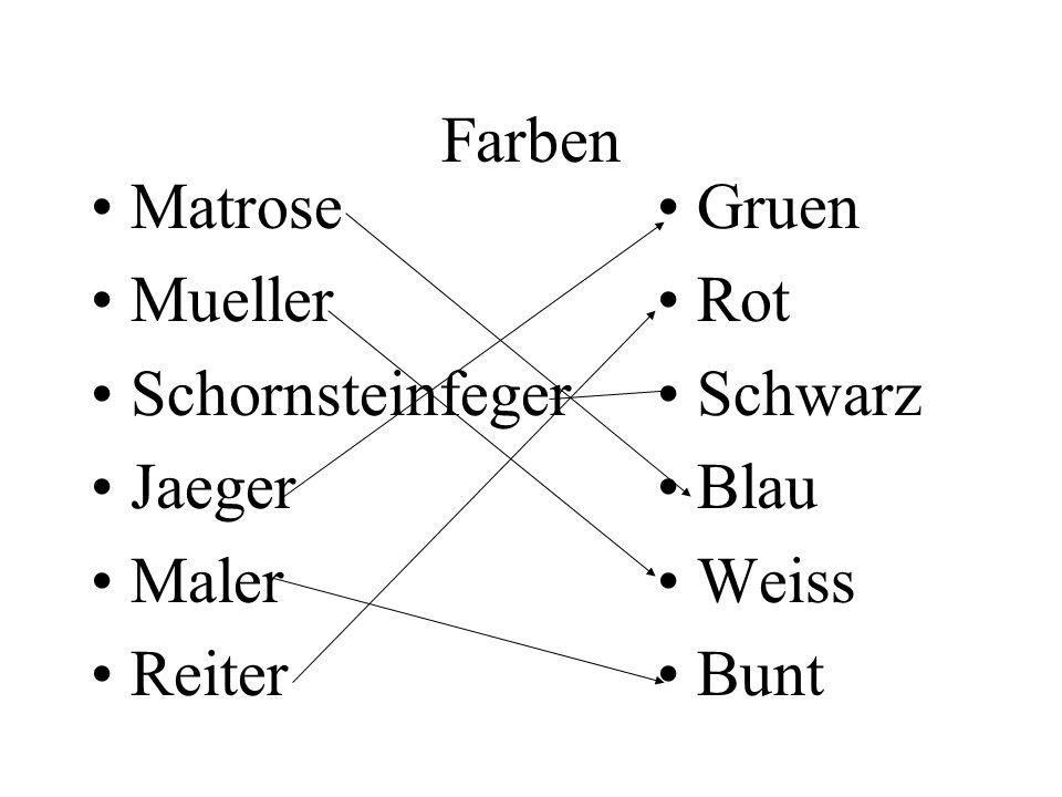 Farben Matrose Mueller Schornsteinfeger Jaeger Maler Reiter Gruen Rot Schwarz Blau Weiss Bunt