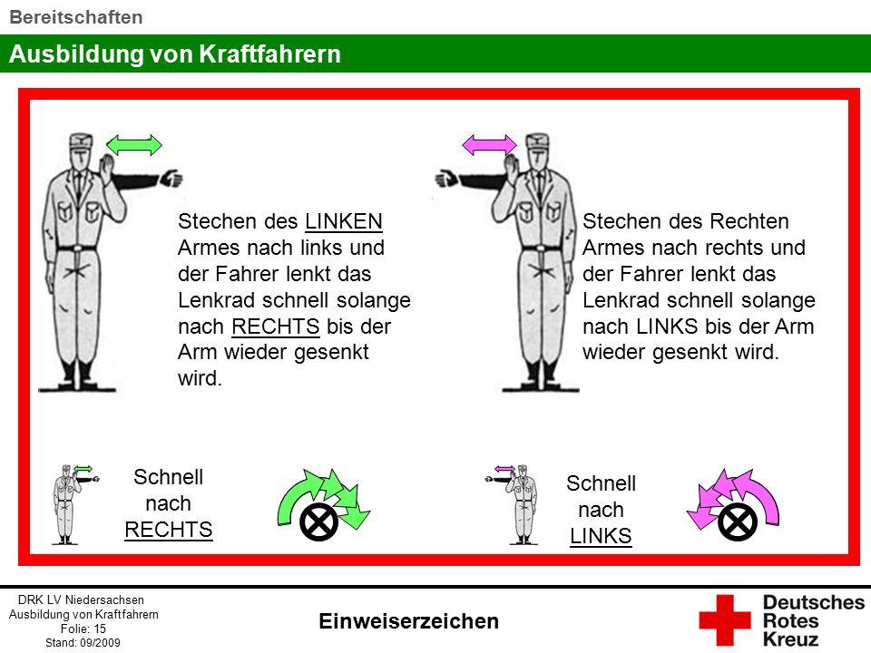 Stechen des LINKEN Armes nach links und der Fahrer lenkt das Lenkrad schnell solange nach RECHTS bis der Arm wieder gesenkt wird.