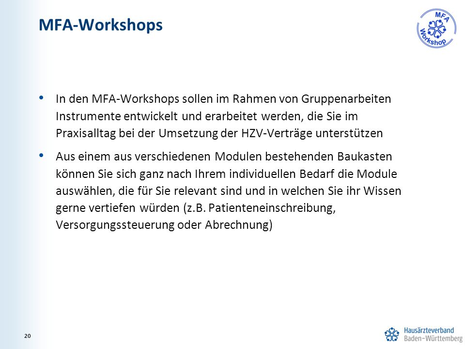 MFA-Workshops