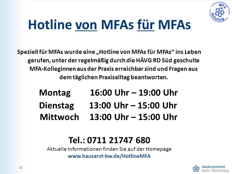 Hotline von MFAs für MFAs