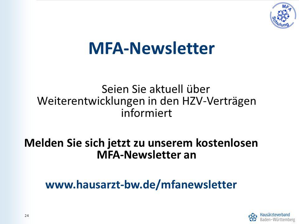 Melden Sie sich jetzt zu unserem kostenlosen MFA-Newsletter an