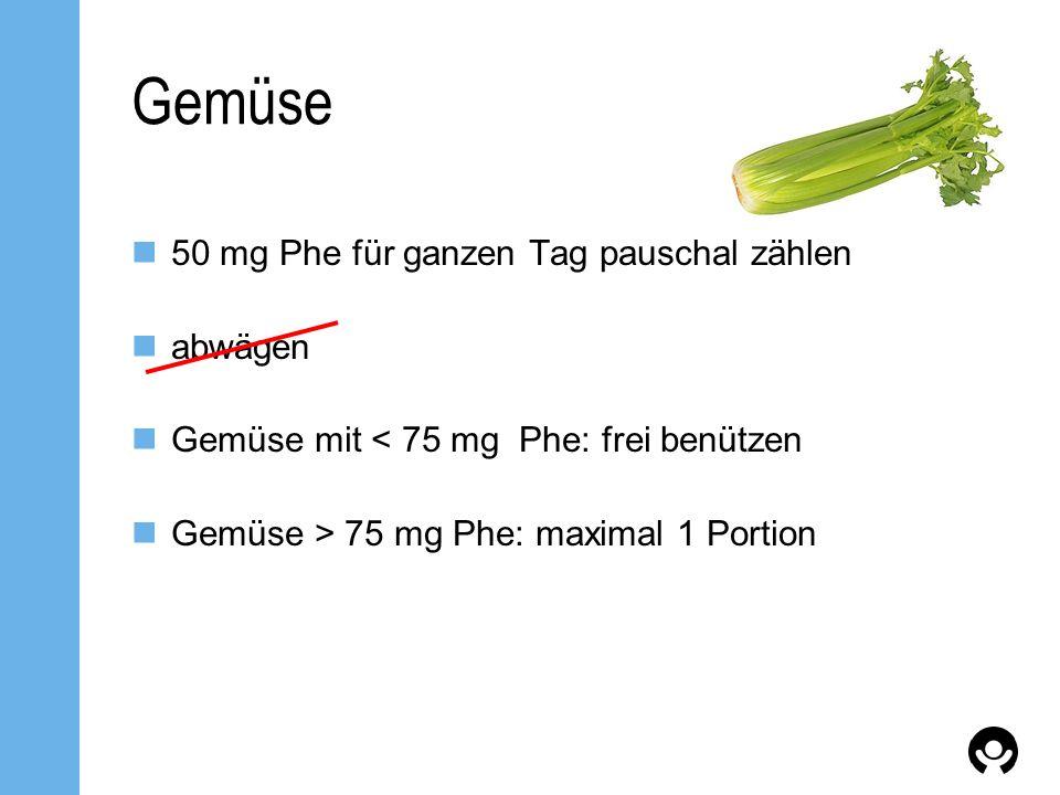 Gemüse 50 mg Phe für ganzen Tag pauschal zählen abwägen