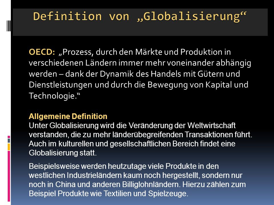 """Definition von """"Globalisierung"""