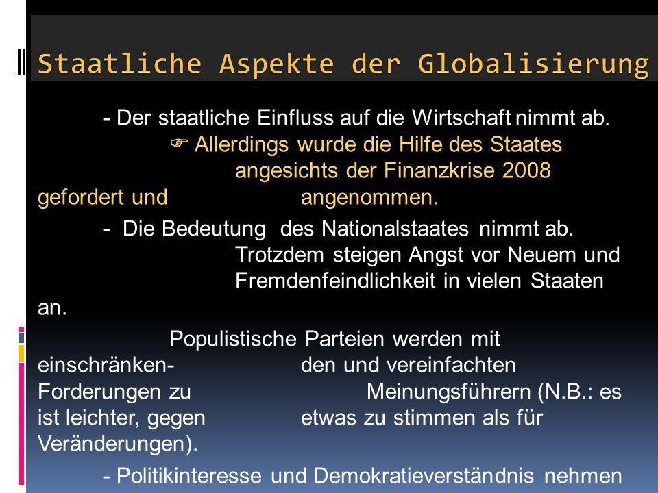 Staatliche Aspekte der Globalisierung