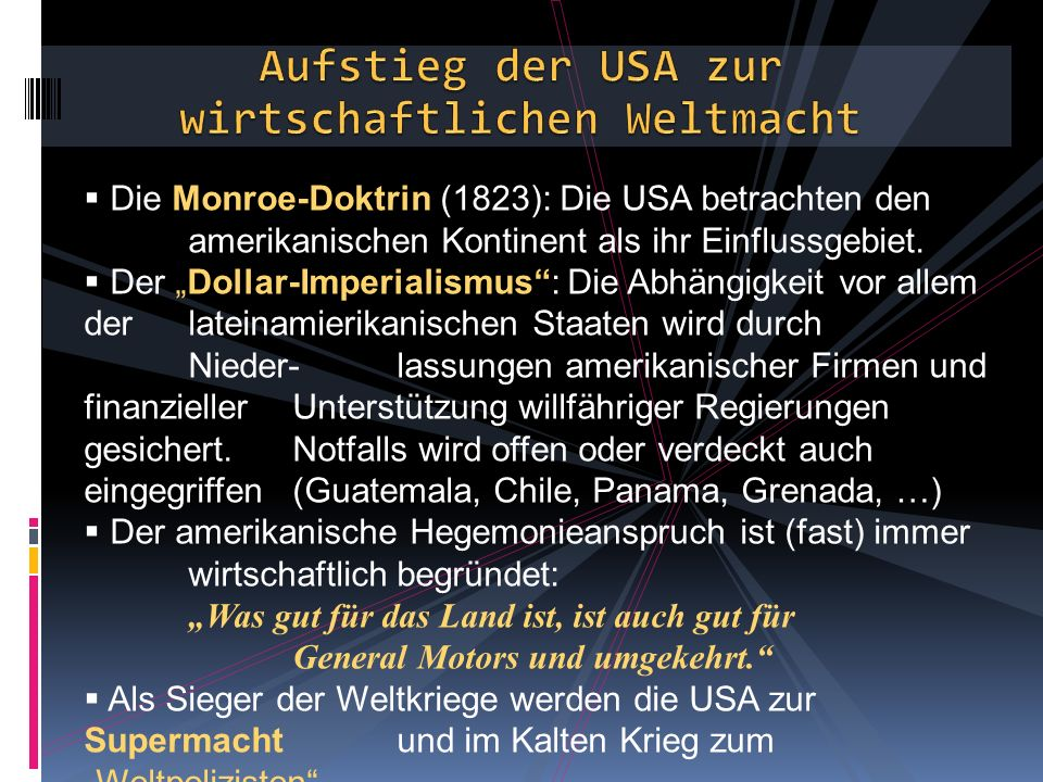 Aufstieg der USA zur wirtschaftlichen Weltmacht