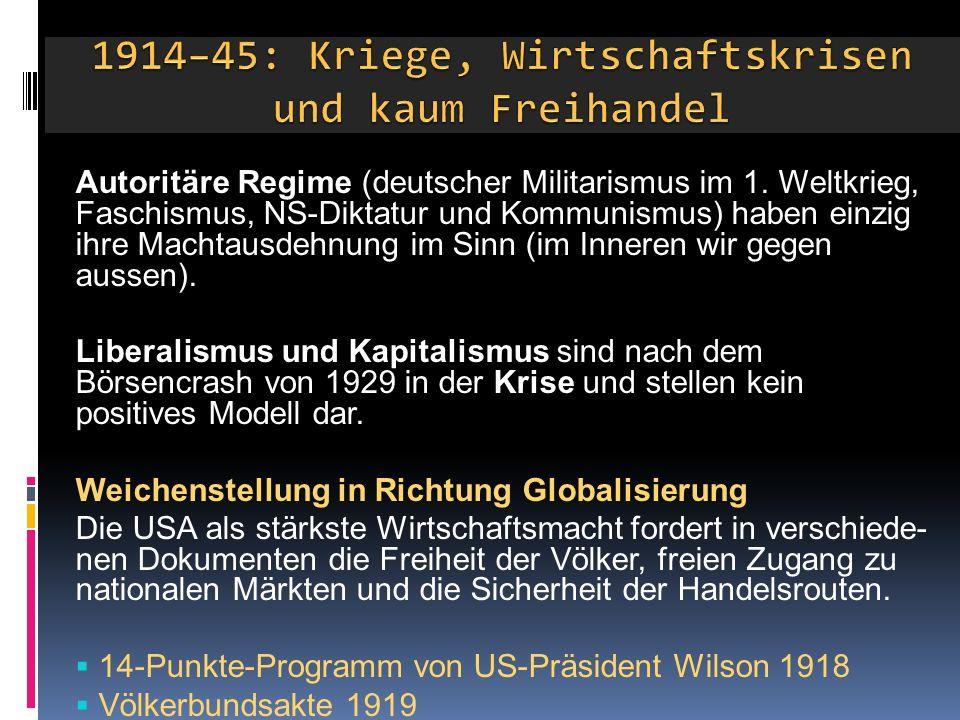 1914–45: Kriege, Wirtschaftskrisen und kaum Freihandel