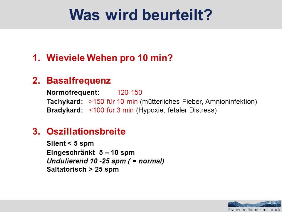 Was wird beurteilt Wieviele Wehen pro 10 min Basalfrequenz