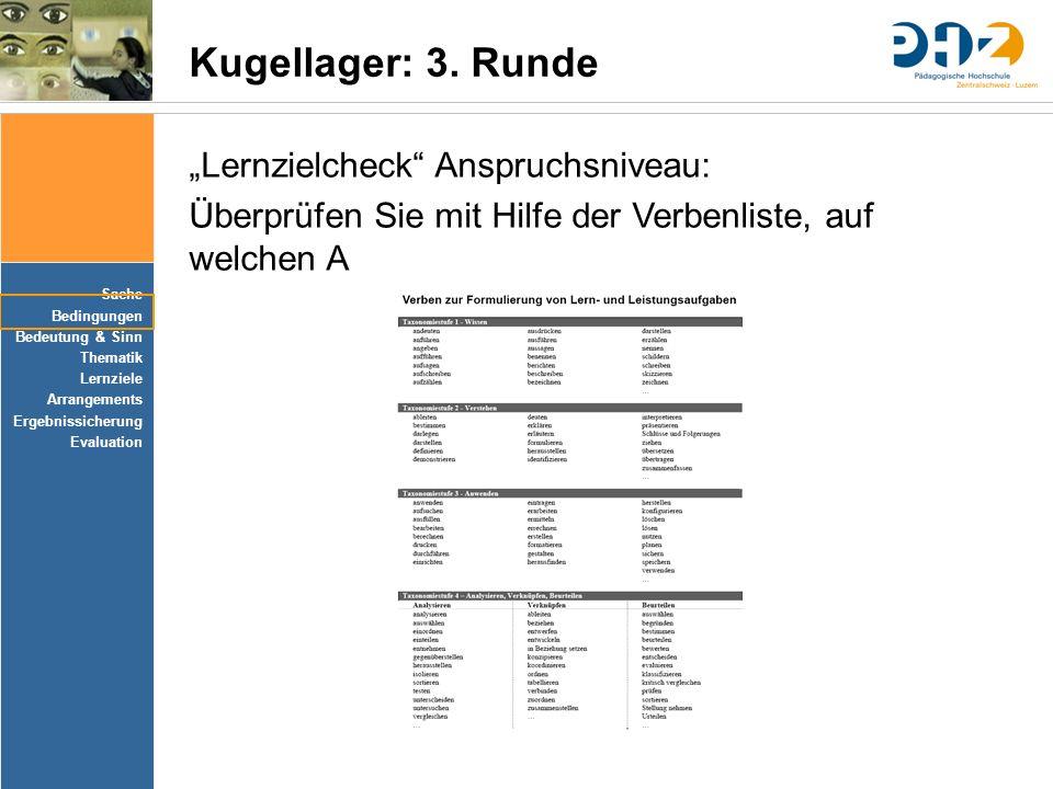 """Kugellager: 3. Runde """"Lernzielcheck Anspruchsniveau:"""