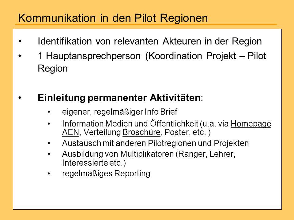 Kommunikation in den Pilot Regionen