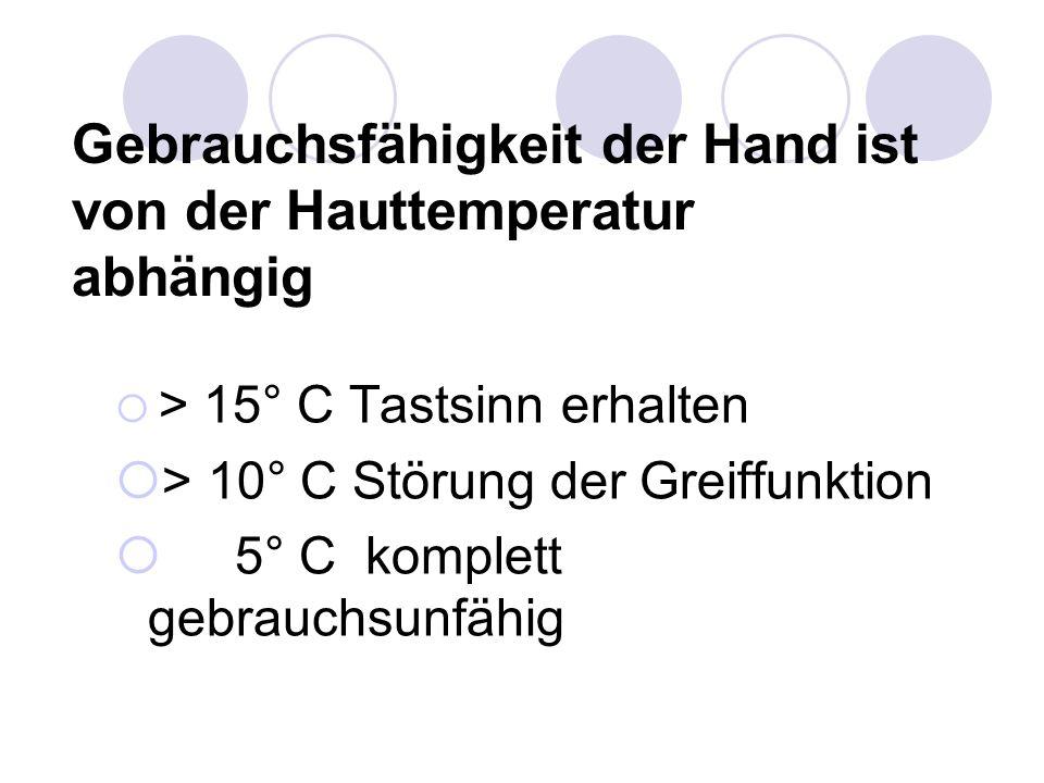 Gebrauchsfähigkeit der Hand ist von der Hauttemperatur abhängig