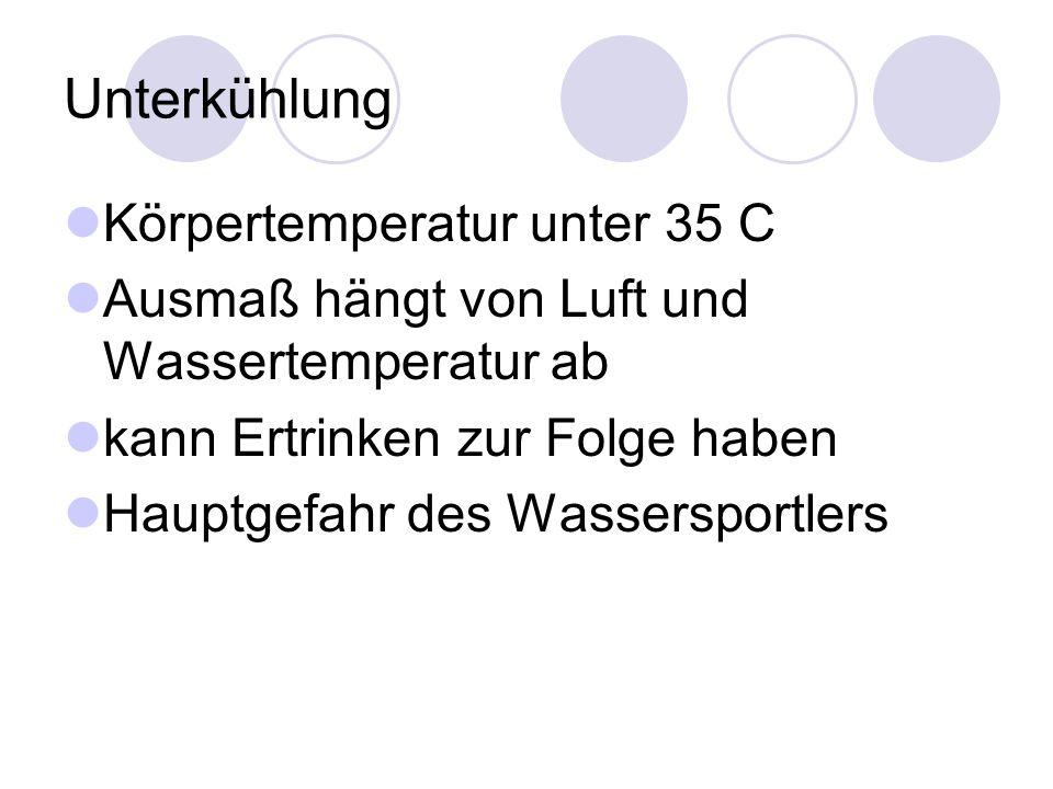 Unterkühlung Körpertemperatur unter 35 C