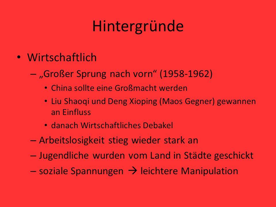"""Hintergründe Wirtschaftlich """"Großer Sprung nach vorn (1958-1962)"""