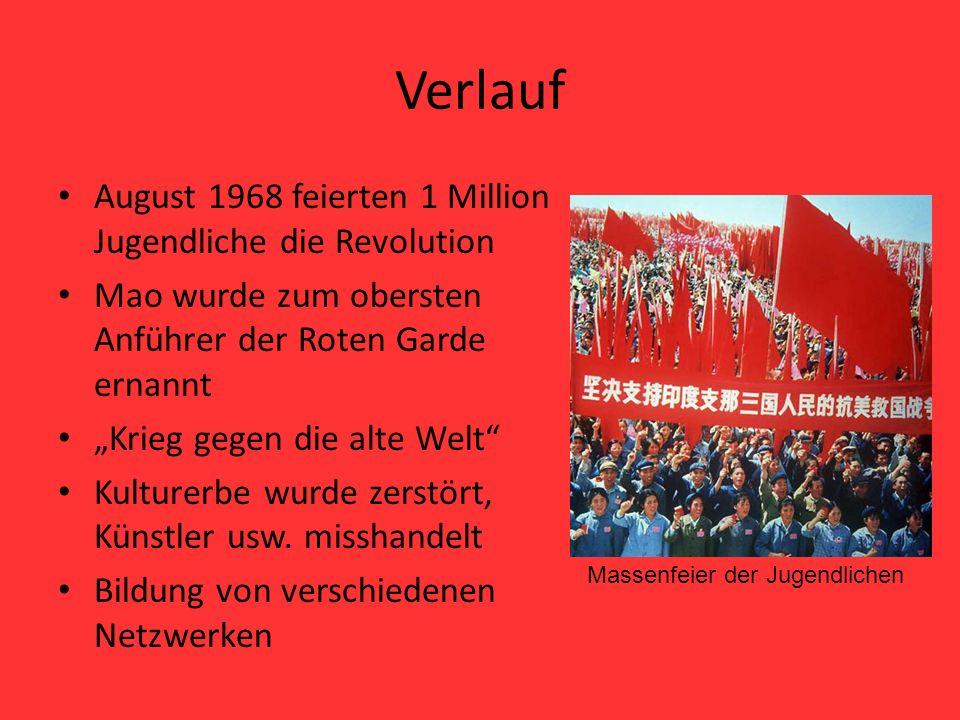 Verlauf August 1968 feierten 1 Million Jugendliche die Revolution