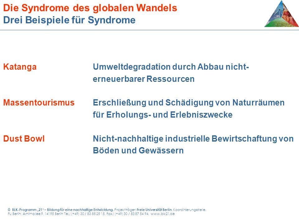 Die Syndrome des globalen Wandels Drei Beispiele für Syndrome