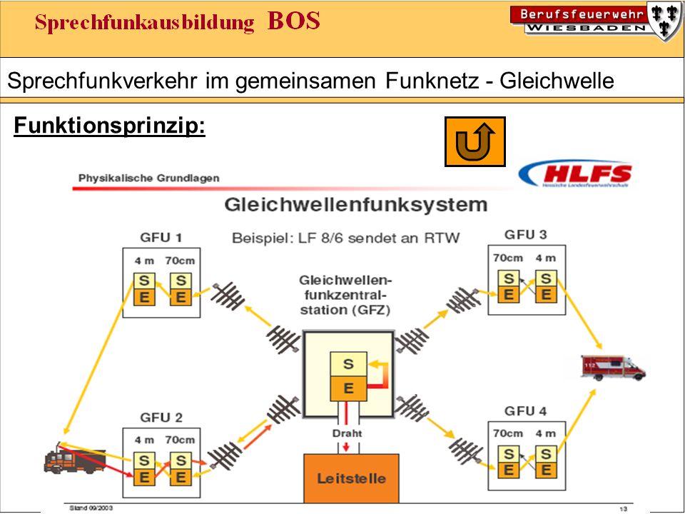 Sprechfunkverkehr im gemeinsamen Funknetz - Gleichwelle