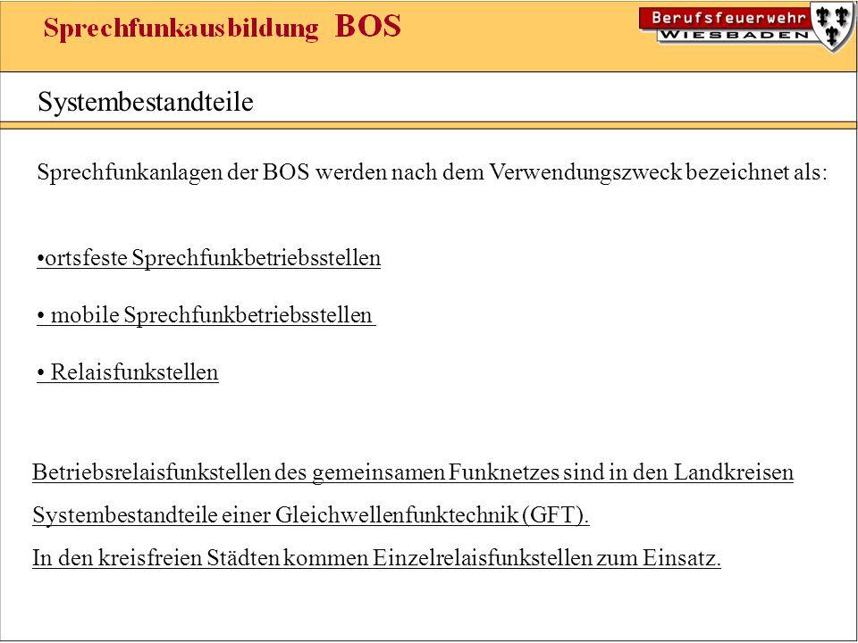Systembestandteile Sprechfunkanlagen der BOS werden nach dem Verwendungszweck bezeichnet als: •ortsfeste Sprechfunkbetriebsstellen.