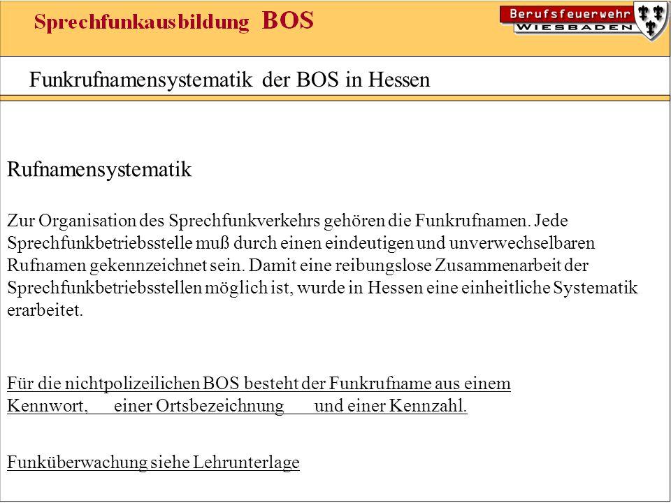 Funkrufnamensystematik der BOS in Hessen