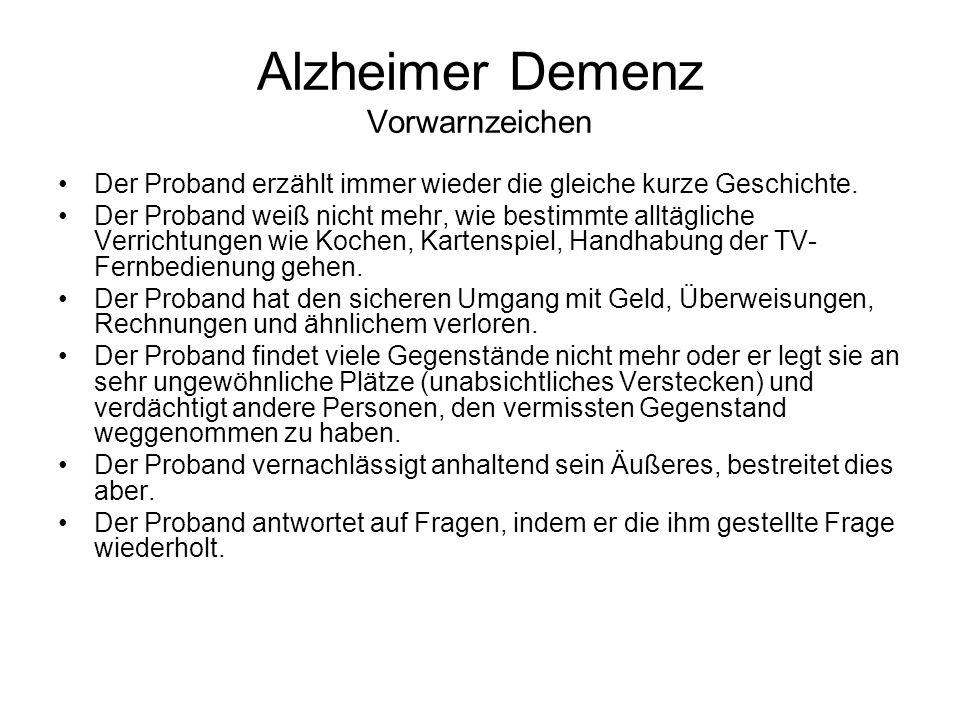 Alzheimer Demenz Vorwarnzeichen