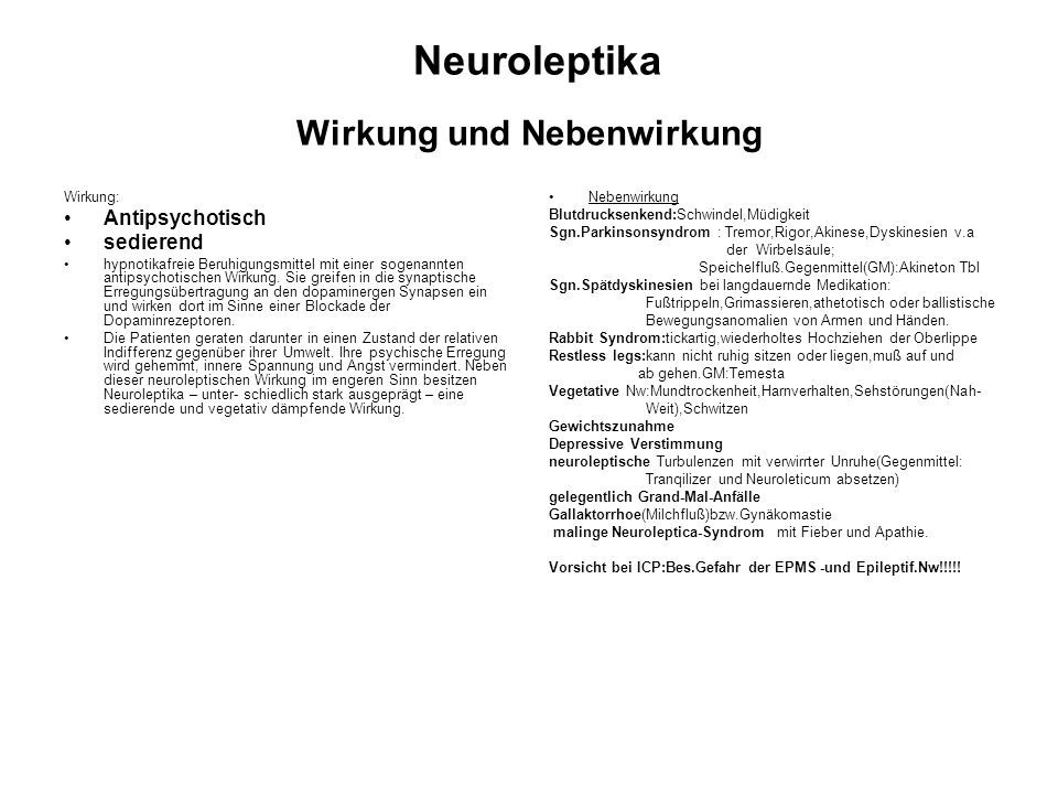 Neuroleptika Wirkung und Nebenwirkung