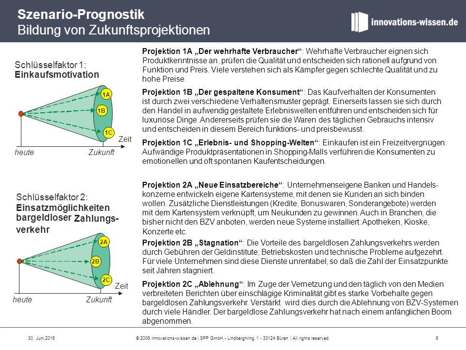 Szenario-Prognostik Bildung von Zukunftsprojektionen