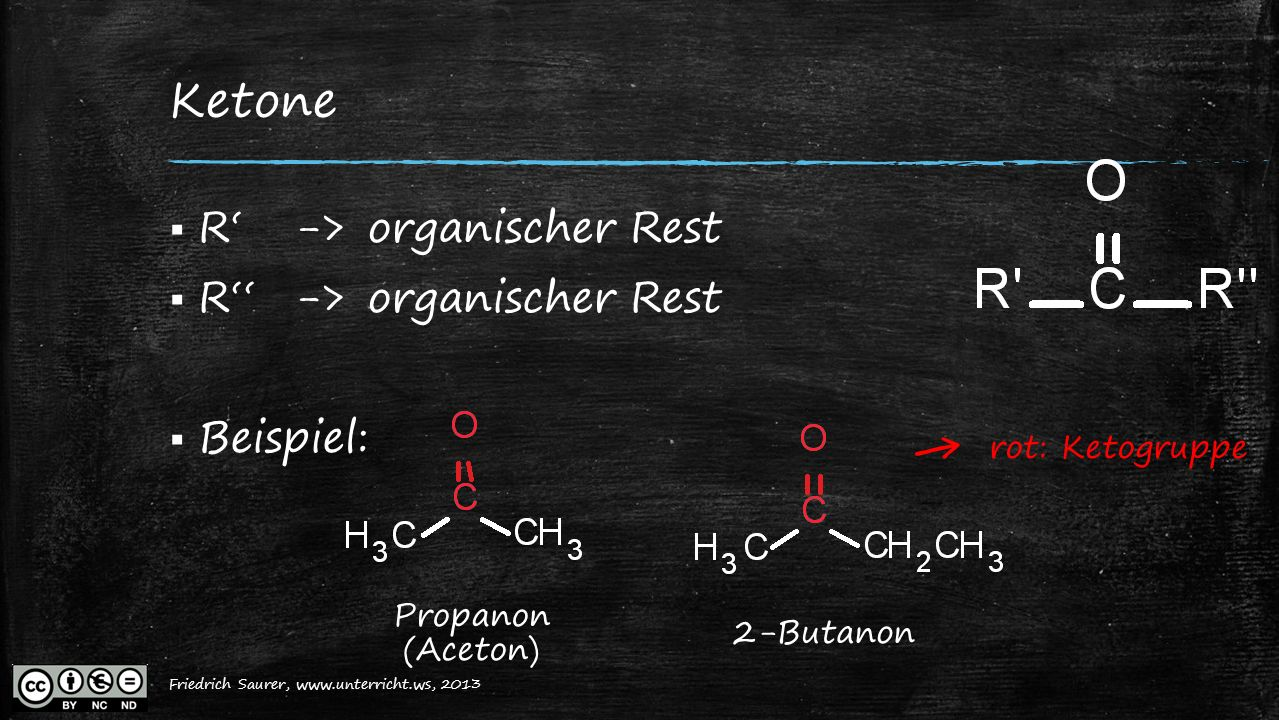← Ketone R' -> organischer Rest R'' -> organischer Rest