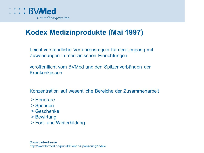 Kodex Medizinprodukte (Mai 1997)
